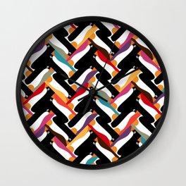 herringbone penguin Wall Clock