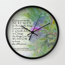 Serenity Prayer Late Summer Garden Wall Clock