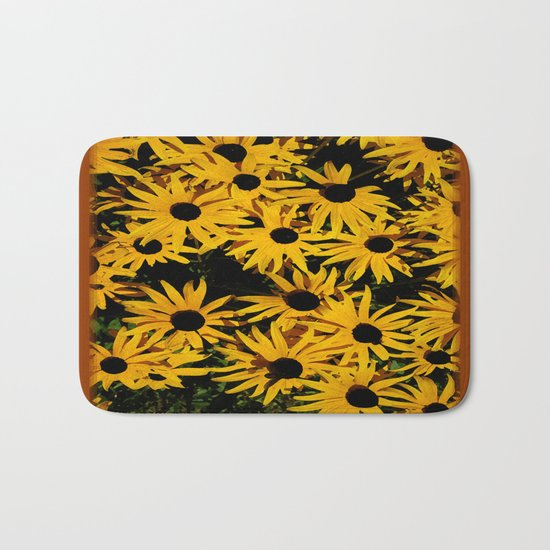 Sunshine Black Eyed Susan Flower Blossoms Bath Mat