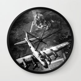 B-17 Bomber Over Germany Painting Wall Clock