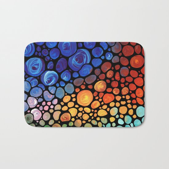 Abstract 1 - Beautiful Colorful Mosaic Art by Sharon Cummings Bath Mat