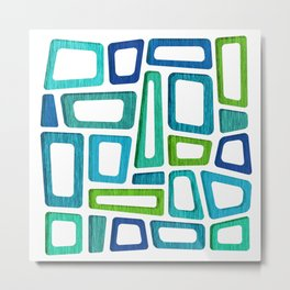 Midcentury Boxy Abstract - Blue Green Palette Metal Print