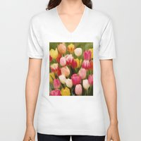 tulips V-neck T-shirts featuring *Tulips* by Mr and Mrs Quirynen
