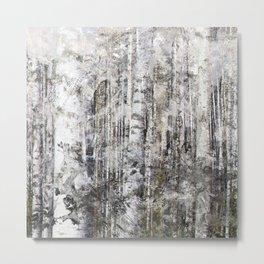 Abstract Silver Grunge Birch Metal Print