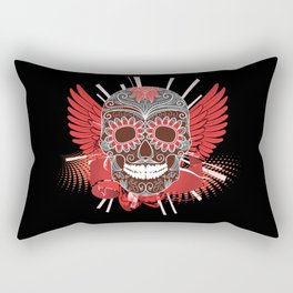 Red and Grey Smiling Skull Rectangular Pillow