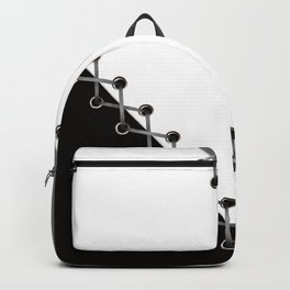 Lacing . Black , white and grey . Backpack