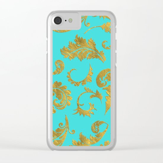 Queenlike on aqua - Gold glitter ornaments on aqua backround- pattern Clear iPhone Case