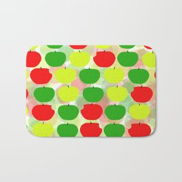 Summer Apple Picking Green, Red and Yellow Bath Mat