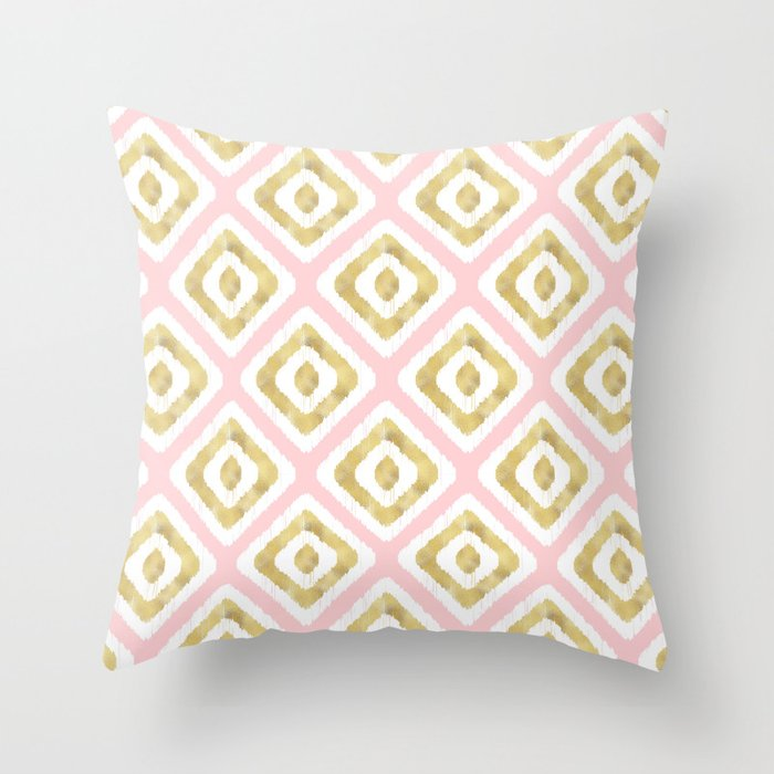 Pink & Gold Ikat Pattern Throw Pillow