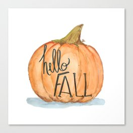 Hello fall pumpkin Canvas Print