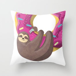 Cute sloth hanging from the donut Throw Pillow