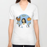 vegetable V-neck T-shirts featuring Animal Vegetable by Mazed & Confused