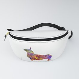 Pembroke Welsh Corgi 01 in watercolor 2 Fanny Pack