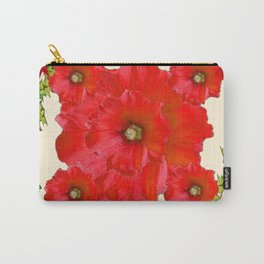 RED FLOWERS & GREEN HOLIDAY FLORAL ART Carry-All Pouch