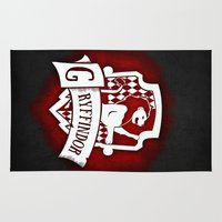gryffindor Area & Throw Rugs featuring White Gryffindor Crest by Sharayah Mitchell