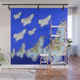 PATTERN OF BLUE & WHITE BUTTERFLIES MODERN ART Wall Mural