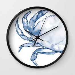 Coastal Crab in Watercolor, Navy Blue (Left Half in Set) Wall Clock
