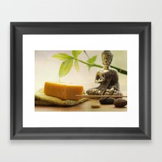Buddha in the bathroom haven of peace Framed Art Print