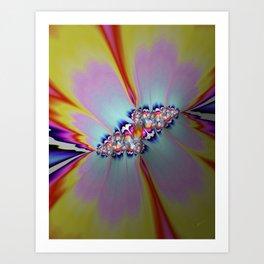 Bloom in Yellows, Blues & Pinks Art Print