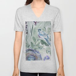 robin with nest Unisex V-Neck