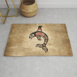 Red and Black Haida Spirit Killer Whale Rug