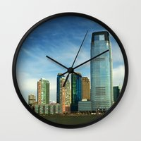 new jersey Wall Clocks featuring New Jersey by Raymond Earley