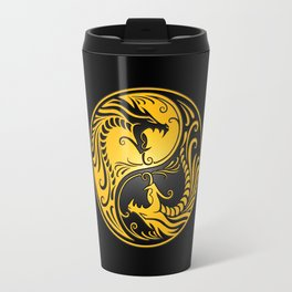 Yellow and Black Yin Yang Dragons Travel Mug