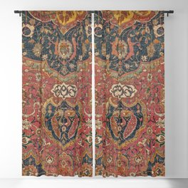 Persian Medallion Rug I // 16th Century Distressed Red Green Blue Flowery Colorful Ornate Pattern Blackout Curtain