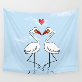Heron Birds In Love Wall Tapestry