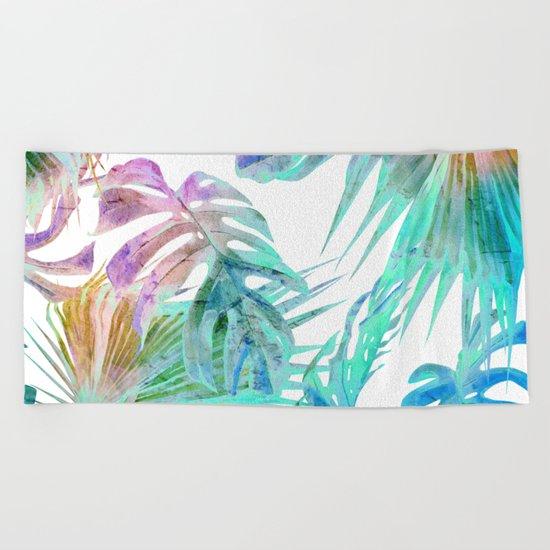 Simply Palm Leaves in Hologram Island Beach Towel
