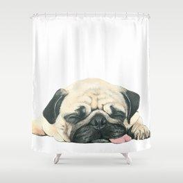 Nap Pug, Dog illustration original painting print Shower Curtain