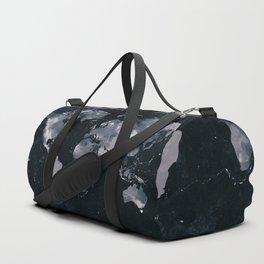 Dark Indigo Ink Marble World Map Duffle Bag
