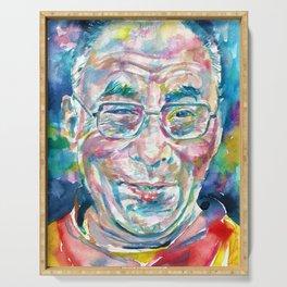 14th DALAI LAMA - TENZIN GYATSO - watercolor portrait.2 Serving Tray