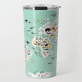 Cartoon animal world map for children, kids, Animals from all over the world, back to school, mint Travel Mug
