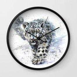 Watercolor Snow Leopard Wall Clock