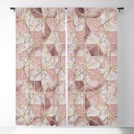 Modern rose gold geometric star flower pattern Blackout Curtain