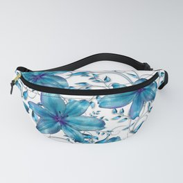 LILY AND VINES BLUE AND WHITE PATTERN Fanny Pack