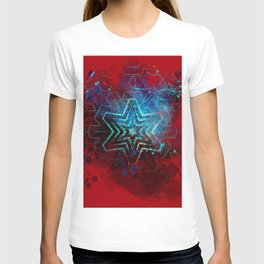 Glowing abstract blue star on blood red T-shirt