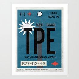 Vintage Taipei Luggage Tag Poster Art Print