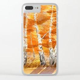 Autumn Silver Birches Clear iPhone Case