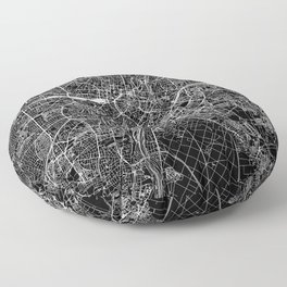 Munich Black Map Floor Pillow