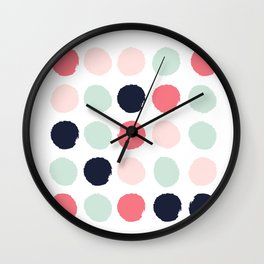 Painted dots trendy color palette minimal polka dots decor nursery home Wall Clock