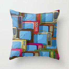 Tv set pattern Throw Pillow