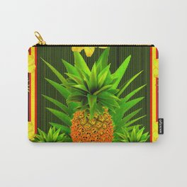HAWAIIAN TROPICAL FLORAL-PINEAPPLES BLACK ART Carry-All Pouch