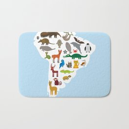 South America sloth anteater toucan lama bat fur seal armadillo boa manatee monkey dolphin Bath Mat