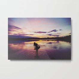 Sunset over Bamber Lake Metal Print