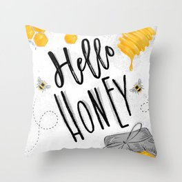 Hello honey Throw Pillow