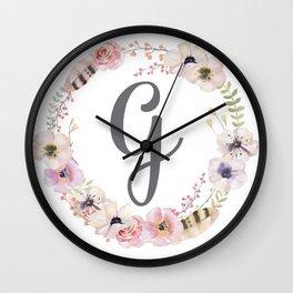 Floral Wreath - G Wall Clock