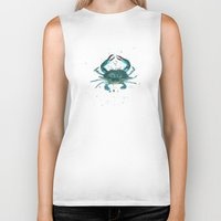 crab Biker Tanks featuring Blue Crab Watercolor by Amber Marine