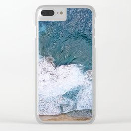 Tropical, Romantic Beach With Foamy Waves Crashing Clear iPhone Case